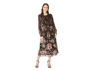 Vince Camuto Long Sleeve Floral Velvet Burnout Dress