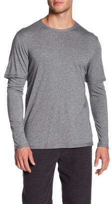 Vince Double Layer Solid Long Sleeve Tee