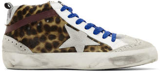 Golden Goose Grey Leopard Mid Star Pony Sneakers