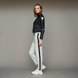 Maje Elastic waist pants with side stripes