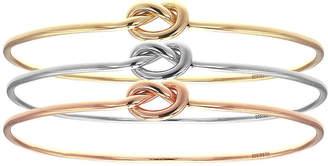 FINE JEWELRY 18K Tri-Color Gold Knot Bangle Bracelet Set