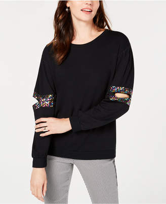 INC International Concepts I.n.c. Sequined Cutout Sweatshirt