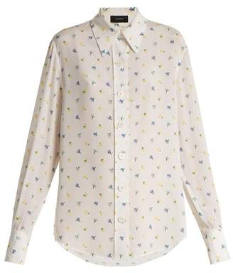 Joseph - Floral Print Point Collar Shirt - Womens - White Print