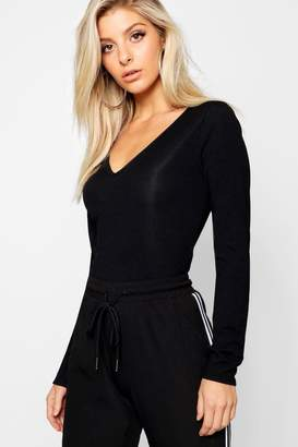 boohoo Basic V Neck Long Sleeve Top