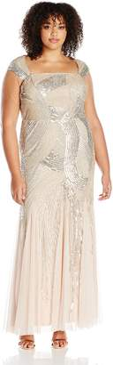 Adrianna Papell Women's Plus Size Cap Sleeve Fully Beaded Gown