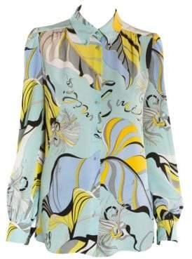 Emilio Pucci Silk Crepe Graphic Print Blouse