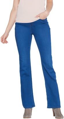 Denim & Co. Petite Soft Stretch Lightly Bootcut Distressed Jean