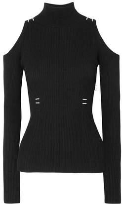 Thierry Mugler Cold-shoulder Embellished Ribbed-knit Top - Black