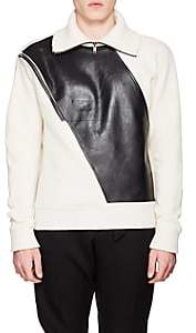 Givenchy Men's Leather-Inset Wool Quarter-Zip Sweater - White