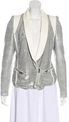 IRO Leather-Trimmed Sequin Blazer
