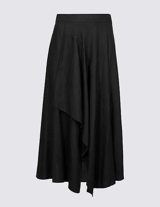 Marks and Spencer Linen Rich Deconstructed Wrap Midi Skirt