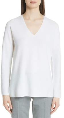 Fabiana Filippi Metallic Sleeve Merino Wool, Silk & Cashmere Sweater