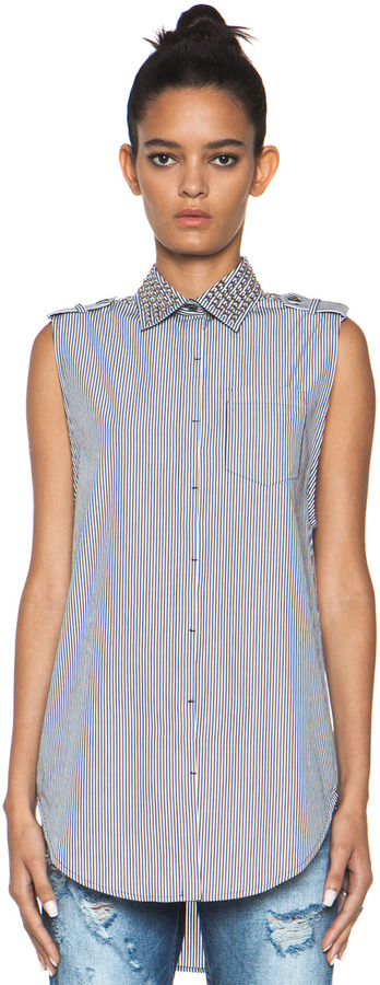 Balmain Pierre Stripe Shirt with Studs in Blue & White