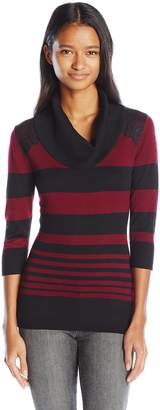 Amy Byer A. Byer Juniors 3/4 Sleeve Striped Cowl Neck Sweater