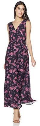 Suite Alice Women's Sleeveless Maxi Faux Wrap Dress with Front Waist Tie Print