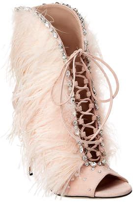 Giuseppe Zanotti Jeweled Feather Lace-Up Suede Bootie