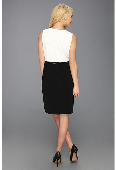 Calvin Klein Two-Tone Belted Sheath Dress