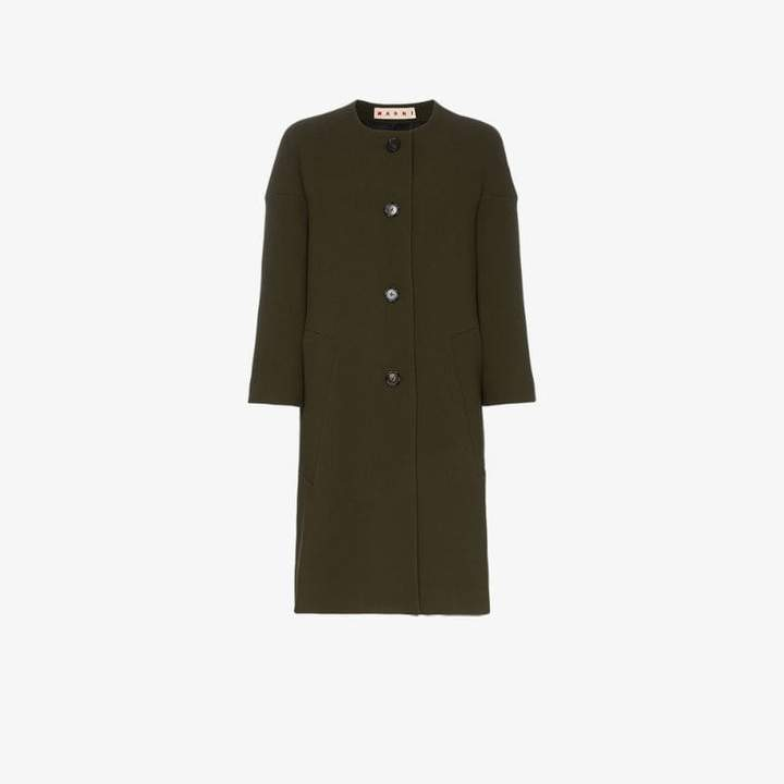 cocoon single-breasted wool coat