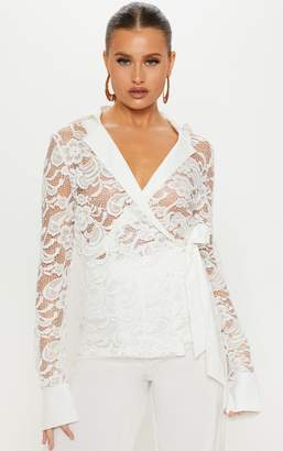 PrettyLittleThing White Lace Tie Waist Shirt