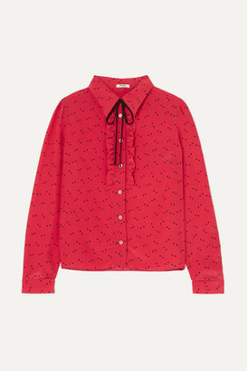 Miu Miu Ruffled Printed Crepe De Chine Blouse - Red