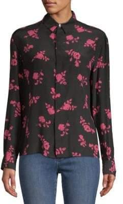 Versace Floral Silk Button-Down Shirt