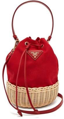 Prada Canvas And Woven Straw Bucket Bag - Womens - Red