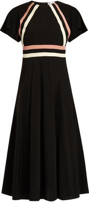 REDVALENTINO Contrasting-striped silk dress $702 thestylecure.com