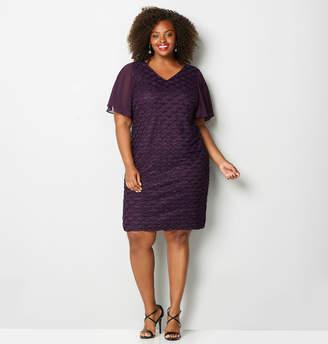 Avenue Textured Wave Flutter Sheath Dress