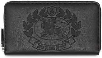 Burberry Embossed Crest Leather Ziparound Wallet