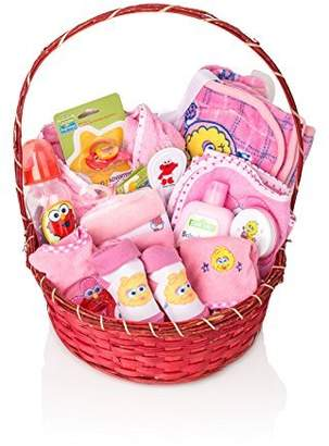 Sesame Street BASSKET.COM Newborn Gift Basket For Baby Girls (0-6 Months), 23 Piece Bundle Filled Baby Gift Basket, Perfect Ideas For Birthdays, Easter, Christmas, Get Well, or Other Occasion