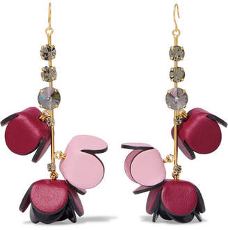 Marni Gold-tone, Leather, Crystal And Resin Earrings