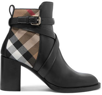 Burberry Leather And Checked Canvas Ankle Boots - Black