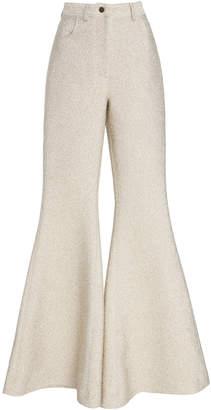 Rosie Assoulin Metallic Stretch Flared Pants