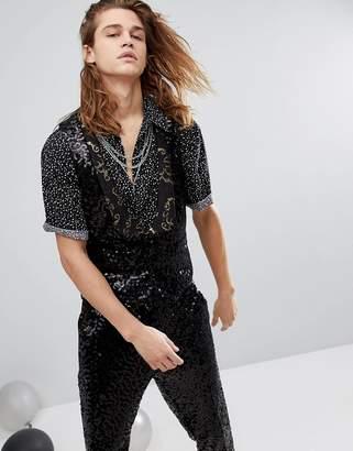Asos DESIGN skinny vest in black sequins with gold trim