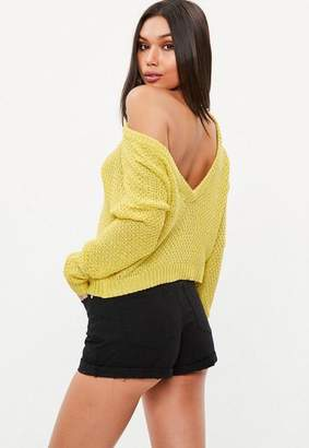 Missguided Yellow Plunge V Back Sweater