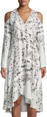 BCBGMAXAZRIA Cold-Shoulder Hummingbird-Floral Dress