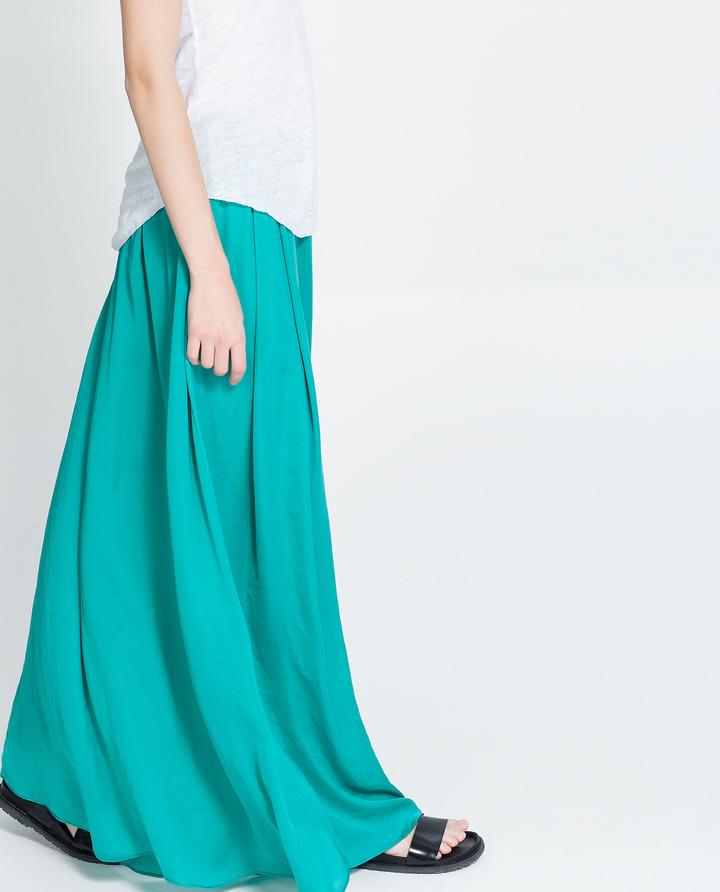 Zara Long Silk Satin Skirt