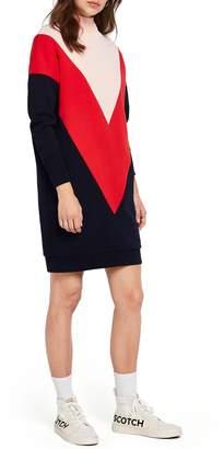 Scotch & Soda Colorblock Turtleneck Sweatshirt Dress