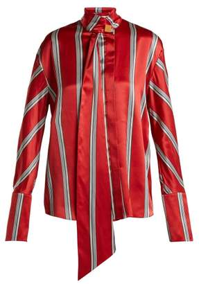 Roksanda Mila Pussy Bow Striped Silk Blouse - Womens - Red Multi