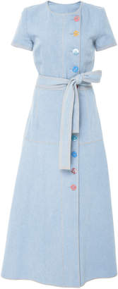 Carolina Herrera Short Sleeve Denim Dress