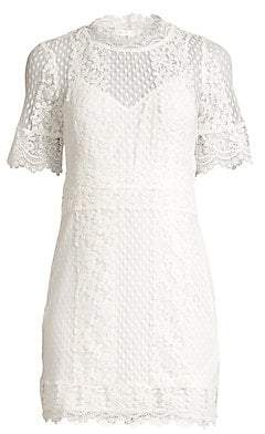 Maje Women's Short Sleeve Lace Mini Dress