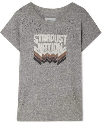 Current/Elliott The Crew Neck Distressed Printed Jersey T-shirt - Gray