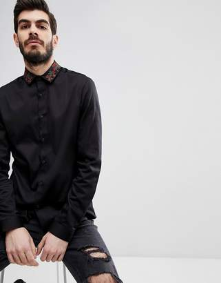 Asos Slim Fit Shirt In Black With Embroidered Collar