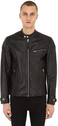 Zip-Up Leather Motor Jacket