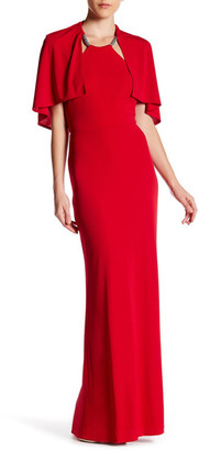 ABS by Allen Schwartz Beaded Neck Cape Gown $169.97 thestylecure.com