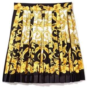 Versace Silk Pleated Hibiscus Skirt