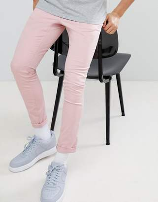 Asos Design Super Skinny Chinos In Pastel Pink