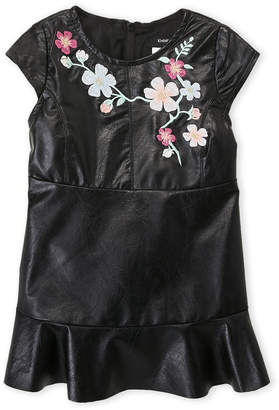 Bebe Baby (Infant Girls) Embroidered Faux Leather Dress