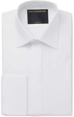 Favourbrook White Bib-Front Double-Cuff Cotton-Poplin Tuxedo Shirt