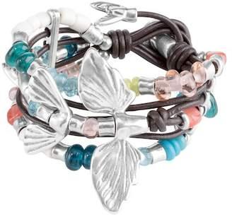 Uno de 50 Volando Nado Murano Glass Bead & Multi Strand Knotted Leather Bracelet
